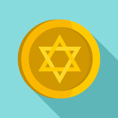 Jewish star coin icon. Flat illustration of jewish star coin vector icon for web design