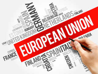 European Union List of cities word cloud collage, concept background