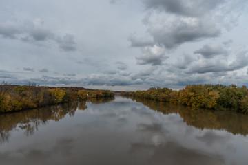 Beautiful panoramic Wabash river vista in Lafayette, Indiana, in autumn