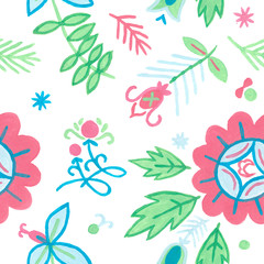 seamless floral background with botanical illustrations.