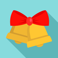 Xmas gold bell icon. Flat illustration of xmas gold bell vector icon for web design