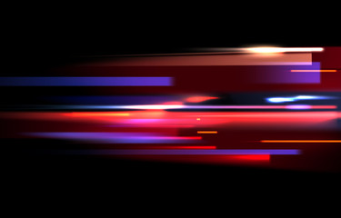 Vector image of colorful light trails with motion blur effect, long time exposure. Isolated on black background