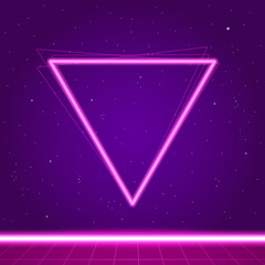 Canvas Prints Violet Futuristic background the 80`s. New retro wave.