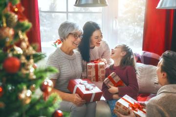 family celebrating Christmas
