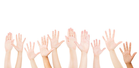 Raising Hands for Participation, many people's hands up. Copy space,volunteer concept.