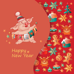 Happy New Year. Pig and Christmas toys. Vector.