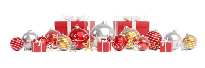 Red and white christmas baubles isolated 3D rendering