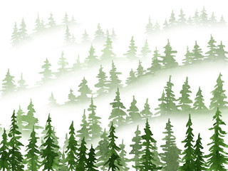 Watercolor misty pine trees landscape. Christmas and New Year illustration in green