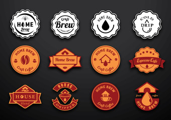 coffee home brew badge design