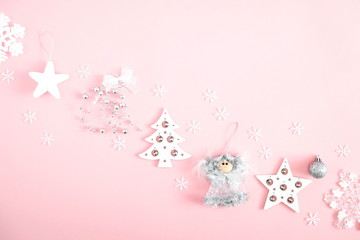 Christmas Elegant Composition Xmas Silver And White Decorations On Pastel Pink Background