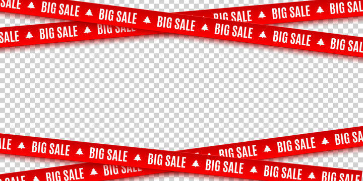 Red ribbons for Christmas sale isolated on transparent background. Big sale. Graphic elements. Vector illustration