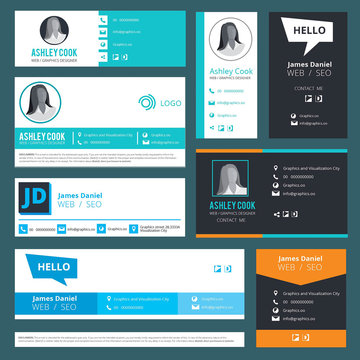 Email signature. Emailers author visit cards user interface design template vector. Illustration of business address, telephone, profile person ui