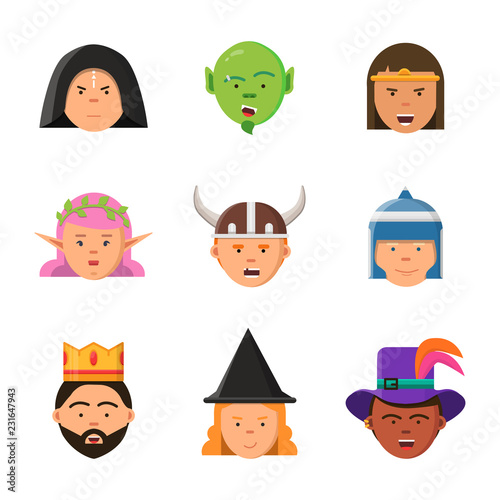 Fantasy game avatars  Fairy tale characters elf wizard king warrior