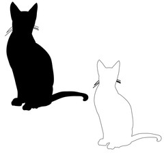 silhouette cat sitting, vector