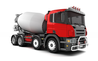Front side view of concrete mixer truck isolated on white background. Right side view. Perspective. 3d illustration.