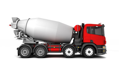 Right side view of concrete mixer truck isolated on white background. 3d illustration.