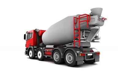 Rear view of concrete mixer truck isolated on white background. Left side. Perspective. 3d illustration.