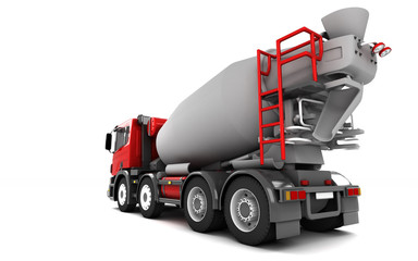 Rear view of concrete mixer truck isolated on white background. Wide angle. Left side. Perspective. 3d illustration.