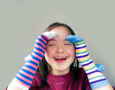 Beautiful girl have fun with socks