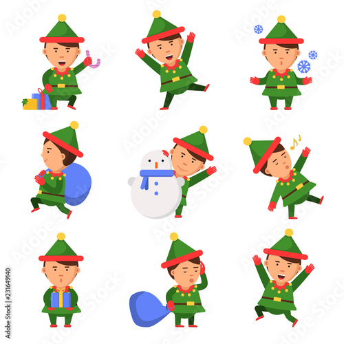 c430234c2a7a7 Christmas elf. Santa helpers dwarfs in action pose vector funny characters  celebration persons kids. Illustration of xmas elf and helper santa with  snowman ...