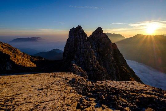 First and second Watzmannkind, Watzmannkar, Watzmann, Berchtesgaden National Park, Berchtesgaden Alps, Schonau am Konigsee, Bavaria, Germany, Europe
