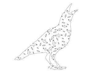 sketch of a bird of a raven