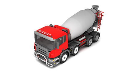 Front side view of concrete mixer truck isolated on white background. High angle view. Left side. Perspective. 3d illustration.