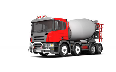 Front side view of concrete mixer truck isolated on white background. Left side. Perspective. 3d illustration.