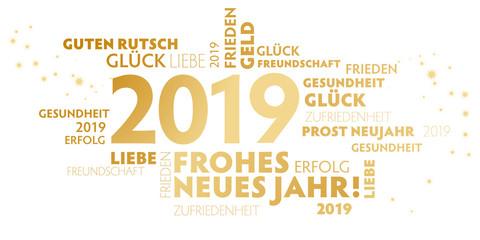 2019 Neujahrsgruss weiß und gold mit guten wünschen für das neue Jahr