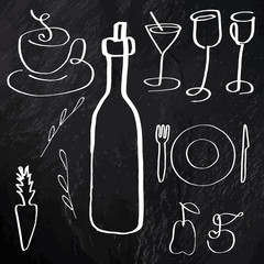 A set of vector food and drink related icons, hand drawn line art, on a black background texture, design elements for a menu and a wine list