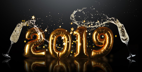 New Year 2019 celebration sign