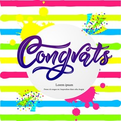 Composition with Congrats modern calligraphy hand lettering on striped background. Blue color