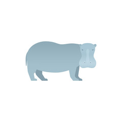 Hippopotamus flat design. Vector. Hippo zoo wild animal isolated. African fauna on white background. Cartoon Illustration.