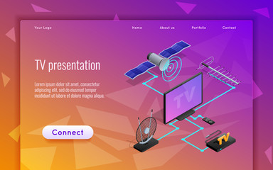 Template web design for the site. Concepts vector illustration for web site tv programs.