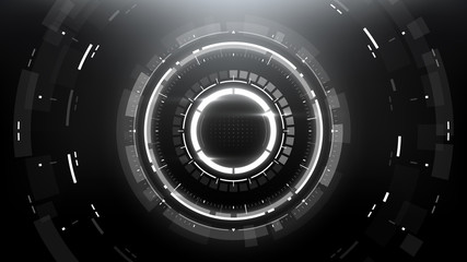Futuristic Technology Abstract Circlular Background. Vector Science Fiction Hi-Tech Wallpaper