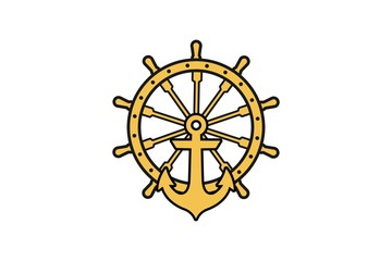 Anchor Nautical maritime sea ocean boat , a steering wheel logo Designs Inspiration Isolated on White Background