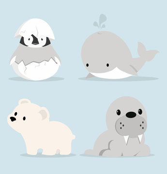 Cute Artic animals Collection in flat design