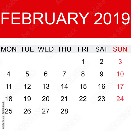 Calendario De Febrero 2019.Calendario De Febrero 2019 En Ingles Stock Image And Royalty Free