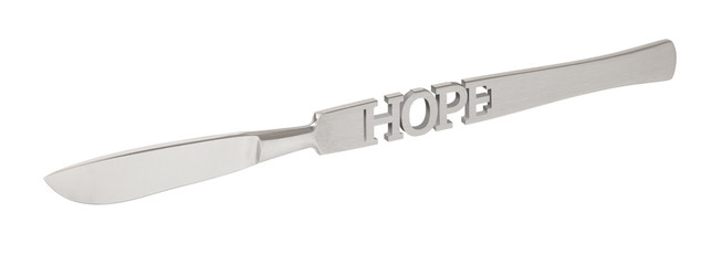 Inscription HOPE on the scalpel. Operation as the last hope for life. 3d render