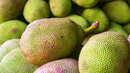 Jack fruit in the fresh market of Thailand., Jack fruit for background.