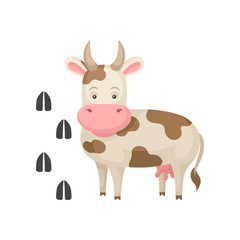 Funny cow and her footprints tracks. Big farm animal with horns. Domestic creature. Flat vector element for children book