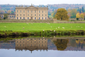 VIEWS OF THE CHATSWORTH ESTATE , DERBYSHIRE,UK IN AUTUMN