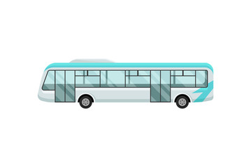 Airport shuttle bus. Large comfortable vehicle for passengers. Transportation theme. Flat vector for mobile app or web site