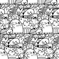 7291852 Funny doodle monsters seamless pattern for prints, designs and coloring books