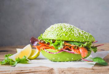 Avocado burger healthy raw food copy space.
