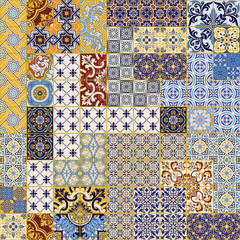 Azulejos tiles patchwork wallpaper abstract vector seamless pattern