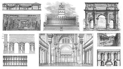 Roman Architecture - Vintage illustration from Meyers Konversations-Lexikon 1897