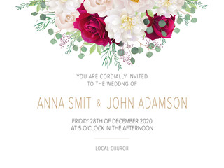 Wedding floral  invitation, save the date card design with dark red roses, white peony, eucalyptus & elegant golden geometric decoration. Geometric botanical vector design frame.Trendy wedding card.