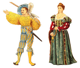 Landsknecht and venetian noblewoman (Renaissance) / vintage illustration from Meyers Konversations-Lexikon 1897