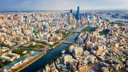 Aerial View Of Houjin River ,kaohsiung City At Taiwan